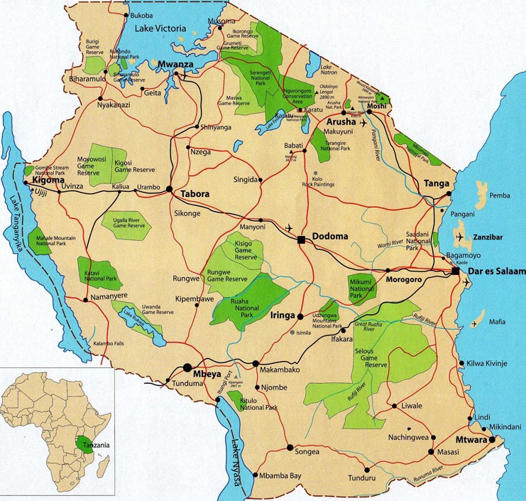 tanzania – map
